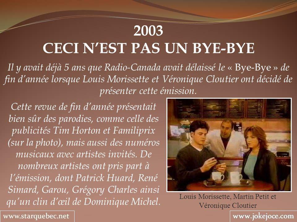 2003 CECI NEST PAS UN BYE-BYE Louis Morissette, Martin Petit et Véronique Cloutier Il y avait déjà 5 ans que Radio-Canada avait délaissé le « Bye-Bye