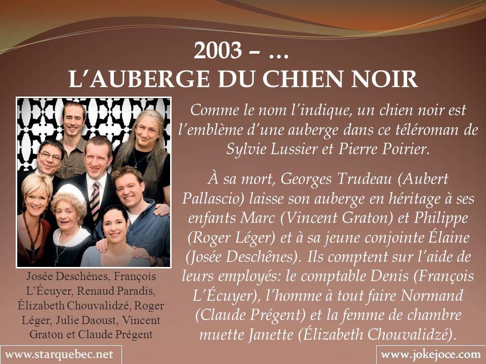2003 – … LAUBERGE DU CHIEN NOIR Josée Deschênes, François LÉcuyer, Renaud Paradis, Élizabeth Chouvalidzé, Roger Léger, Julie Daoust, Vincent Graton et