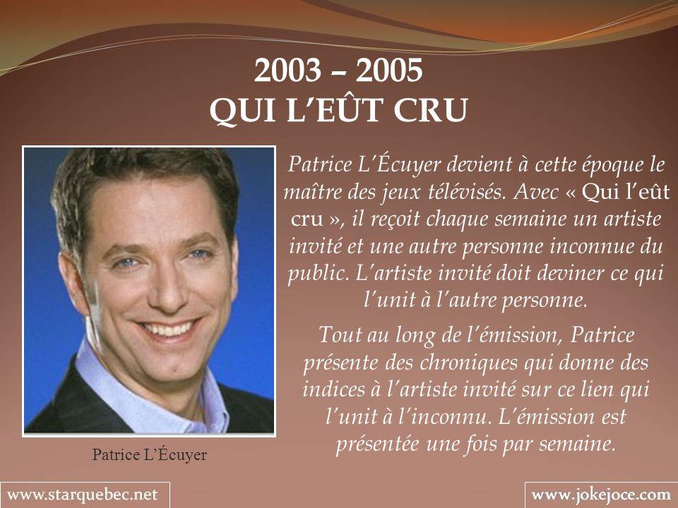 2003 – 2005 QUI LEÛT CRU Patrice LÉcuyer Patrice LÉcuyer devient à cette époque le maître des jeux télévisés. Avec « Qui leût cru », il reçoit chaque