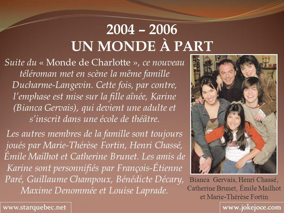 2004 – 2006 UN MONDE À PART Bianca Gervais, Henri Chassé, Catherine Brunet, Émile Mailhot et Marie-Thérèse Fortin Suite du « Monde de Charlotte », ce