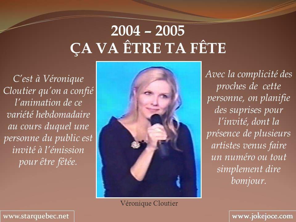2004 – 2005 ÇA VA ÊTRE TA FÊTE Véronique Cloutier Avec la complicité des proches de cette personne, on planifie des suprises pour linvité, dont la pré