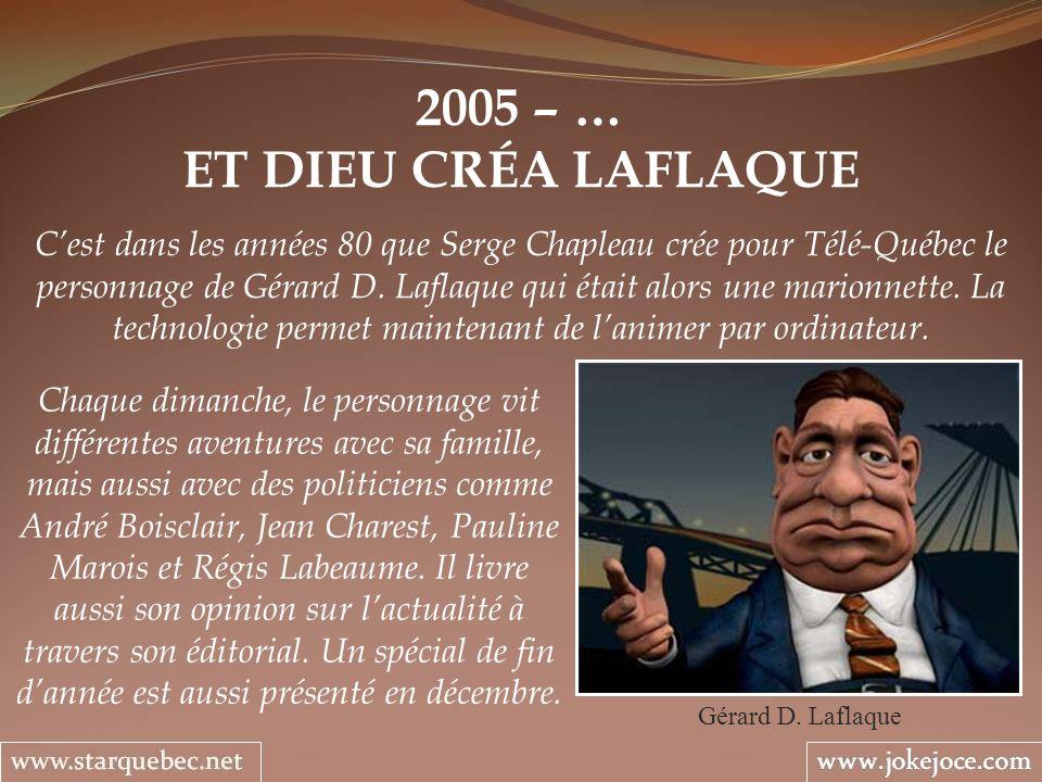 2005 – … ET DIEU CRÉA LAFLAQUE Gérard D. Laflaque Cest dans les années 80 que Serge Chapleau crée pour Télé-Québec le personnage de Gérard D. Laflaque