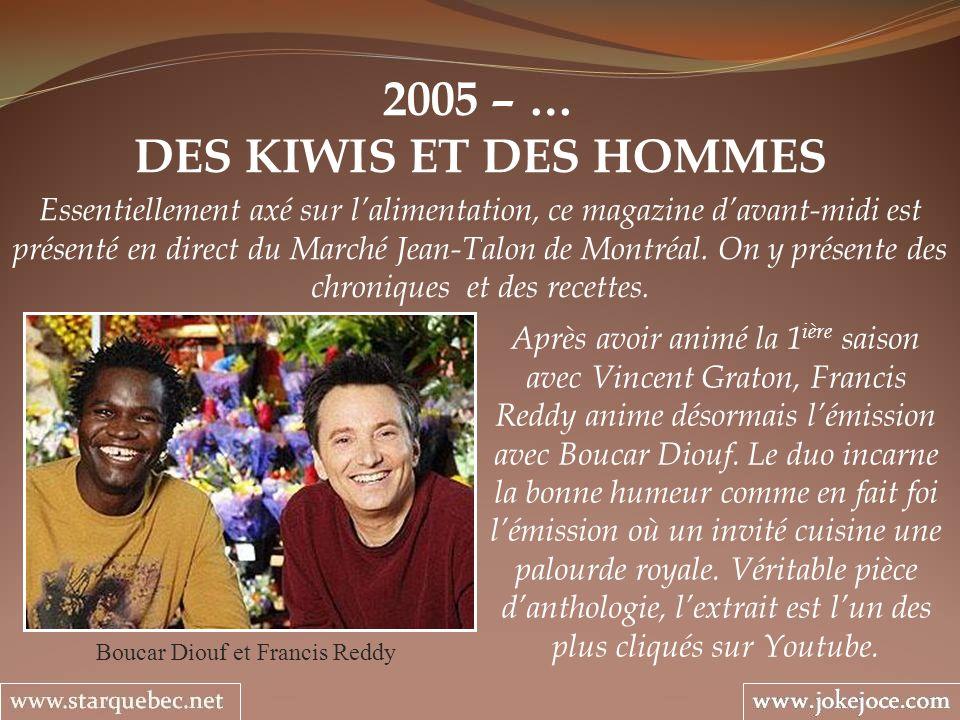 2005 – … DES KIWIS ET DES HOMMES Boucar Diouf et Francis Reddy Essentiellement axé sur lalimentation, ce magazine davant-midi est présenté en direct d