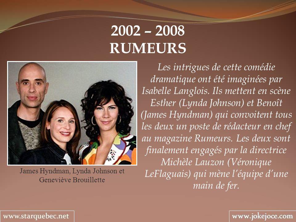 2002 – 2008 RUMEURS James Hyndman, Lynda Johnson et Geneviève Brouillette Les intrigues de cette comédie dramatique ont été imaginées par Isabelle Lan
