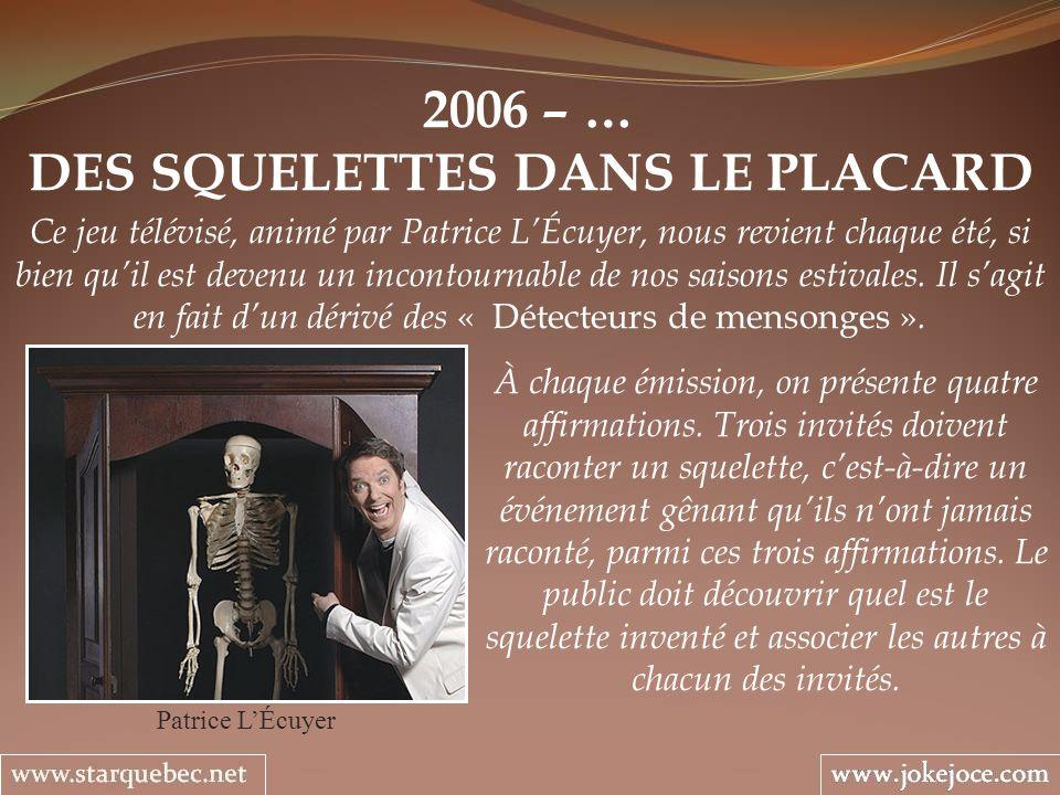 2006 – … DES SQUELETTES DANS LE PLACARD Patrice LÉcuyer Ce jeu télévisé, animé par Patrice LÉcuyer, nous revient chaque été, si bien quil est devenu u