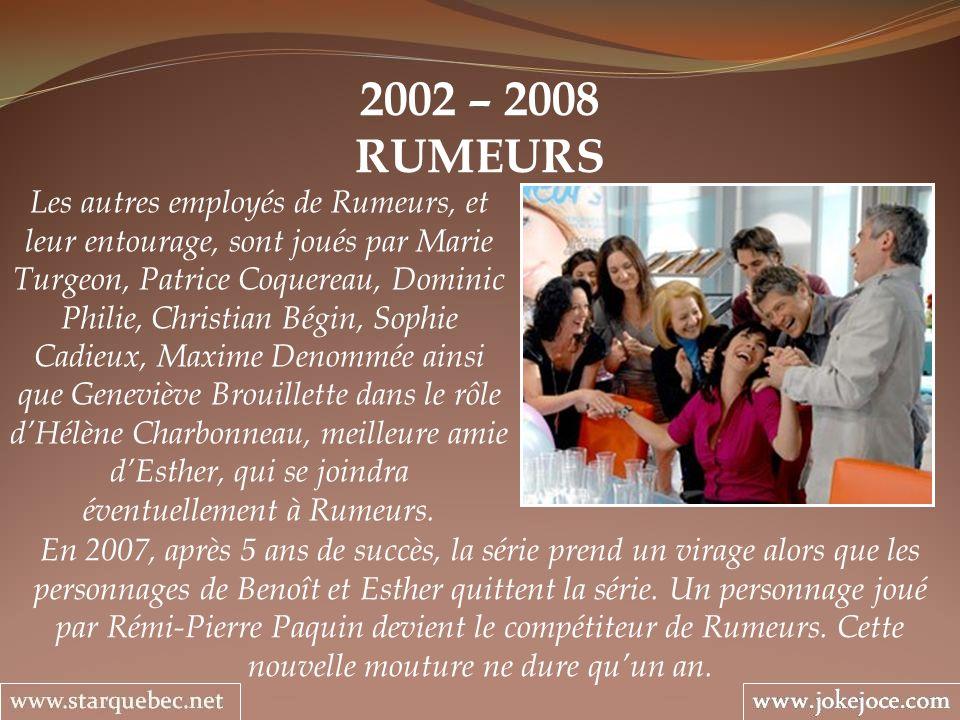 2002 – 2008 RUMEURS Les autres employés de Rumeurs, et leur entourage, sont joués par Marie Turgeon, Patrice Coquereau, Dominic Philie, Christian Bégi