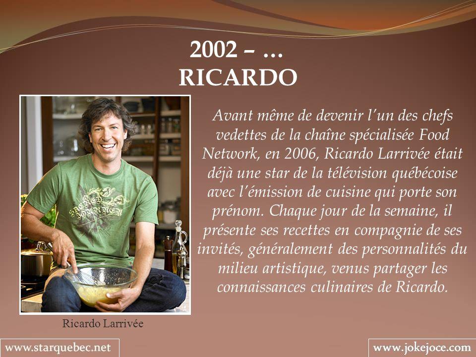 2002 – … RICARDO Ricardo Larrivée Avant même de devenir lun des chefs vedettes de la chaîne spécialisée Food Network, en 2006, Ricardo Larrivée était