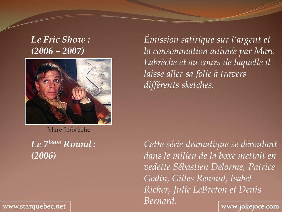 Le 7 ième Round : Cette série dramatique se déroulant (2006) dans le milieu de la boxe mettait en vedette Sébastien Delorme, Patrice Godin, Gilles Ren