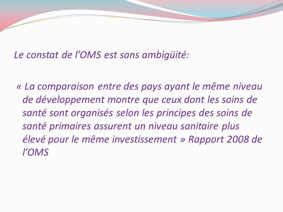 Le constat de lOMS est sans ambigüité: « La comparaison entre des pays ayant le même niveau de développement montre que ceux dont les soins de santé s