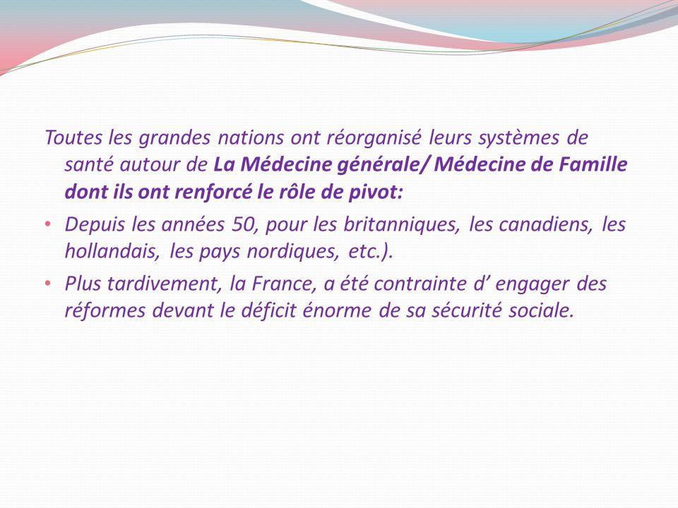 Toutes les grandes nations ont réorganisé leurs systèmes de santé autour de La Médecine générale/ Médecine de Famille dont ils ont renforcé le rôle de