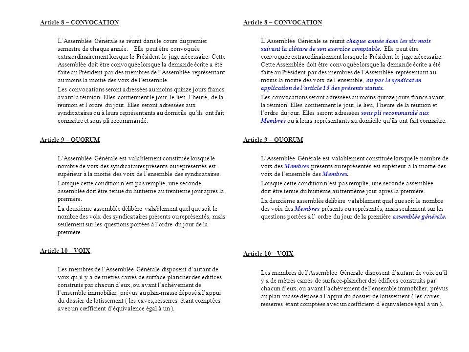 Article 8 – CONVOCATION LAssemblée Générale se réunit dans le cours du premier semestre de chaque année. Elle peut être convoquée extraordinairement l