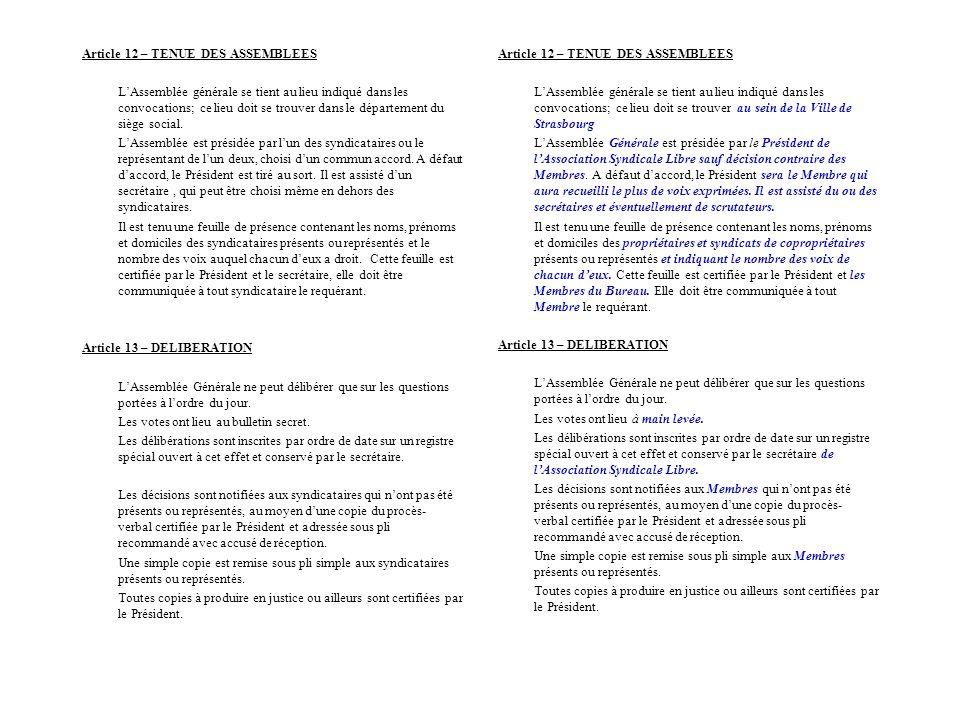 Article 12 – TENUE DES ASSEMBLEES LAssemblée générale se tient au lieu indiqué dans les convocations; ce lieu doit se trouver dans le département du s