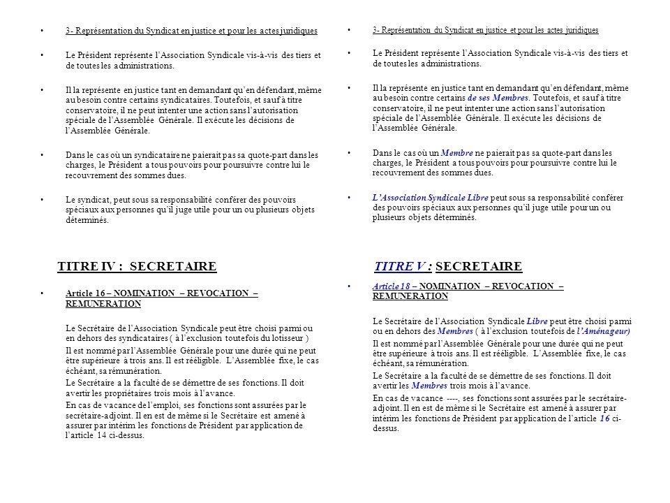 TITRE IV : SECRETAIRE TITRE V : SECRETAIRE 3- Représentation du Syndicat en justice et pour les actes juridiques Le Président représente lAssociation