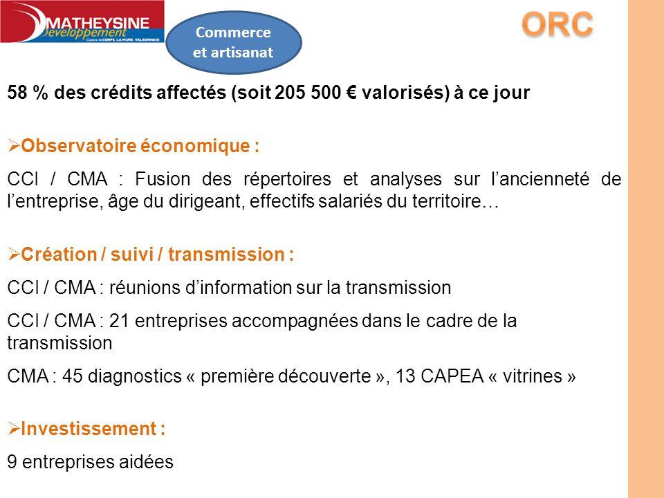 Commerce et artisanat 58 % des crédits affectés (soit 205 500 valorisés) à ce jour Observatoire économique : CCI / CMA : Fusion des répertoires et ana