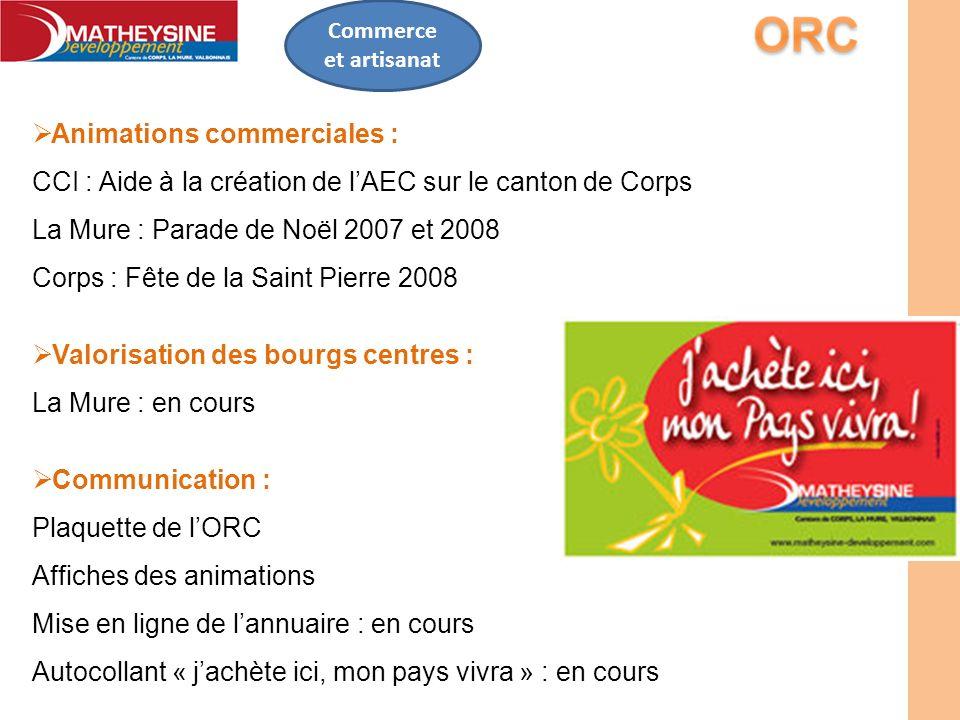 Commerce et artisanat Animations commerciales : CCI : Aide à la création de lAEC sur le canton de Corps La Mure : Parade de Noël 2007 et 2008 Corps :