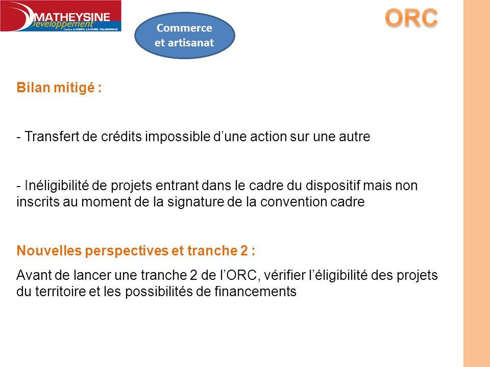 Commerce et artisanat Bilan mitigé : - Transfert de crédits impossible dune action sur une autre - Inéligibilité de projets entrant dans le cadre du d