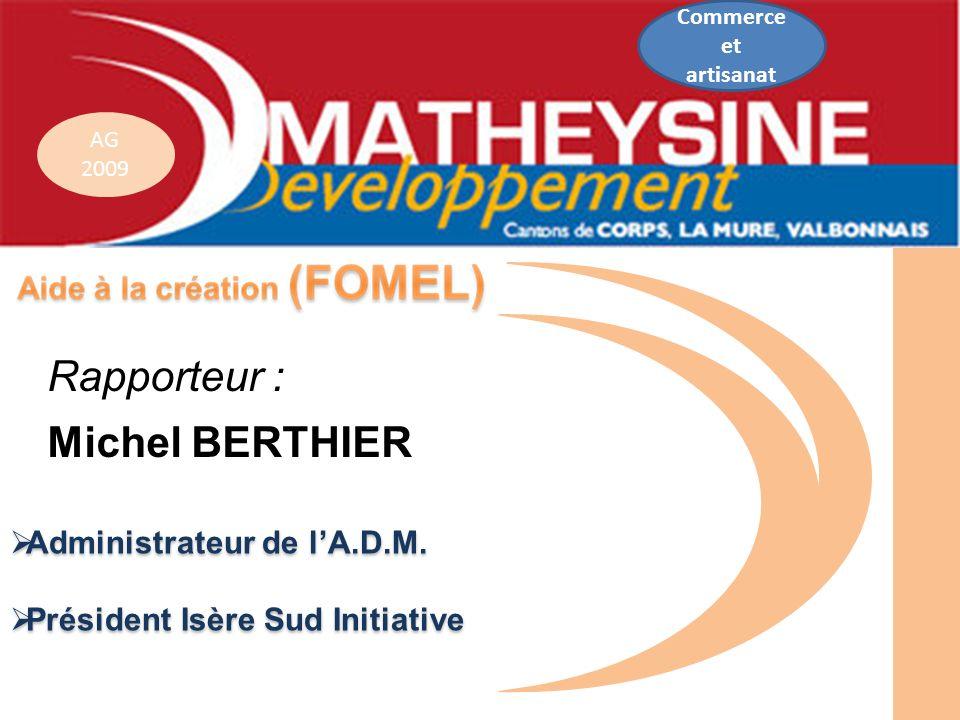 AG 2009 Administrateur de lA.D.M. Administrateur de lA.D.M. Président Isère Sud Initiative Président Isère Sud Initiative Rapporteur : Michel BERTHIER