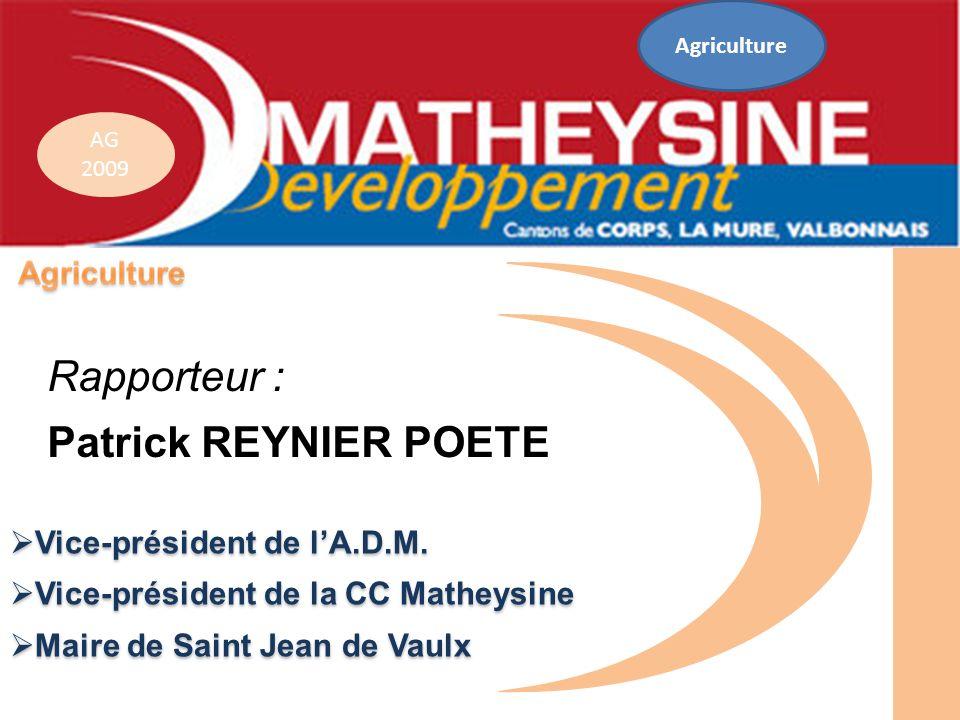 AG 2009 Vice-président de lA.D.M. Vice-président de lA.D.M. Vice-président de la CC Matheysine Vice-président de la CC Matheysine Maire de Saint Jean