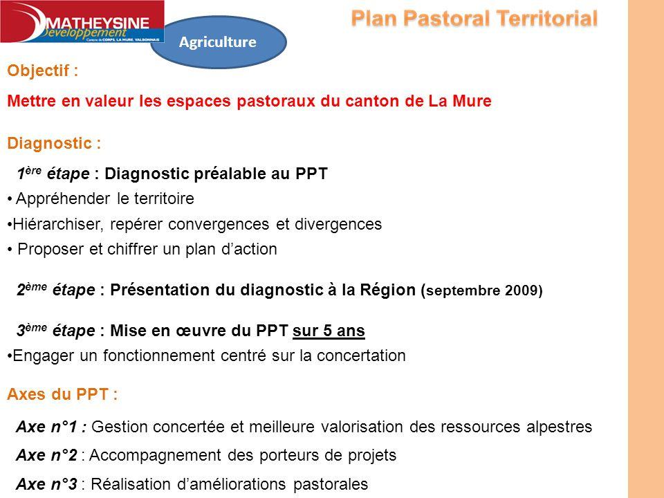 Objectif : Mettre en valeur les espaces pastoraux du canton de La Mure Agriculture Diagnostic : 1 ère étape : Diagnostic préalable au PPT Appréhender