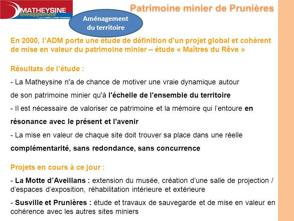 En 2000, lADM porte une étude de définition d'un projet global et cohérent de mise en valeur du patrimoine minier – étude « Maîtres du Rêve » Résultat