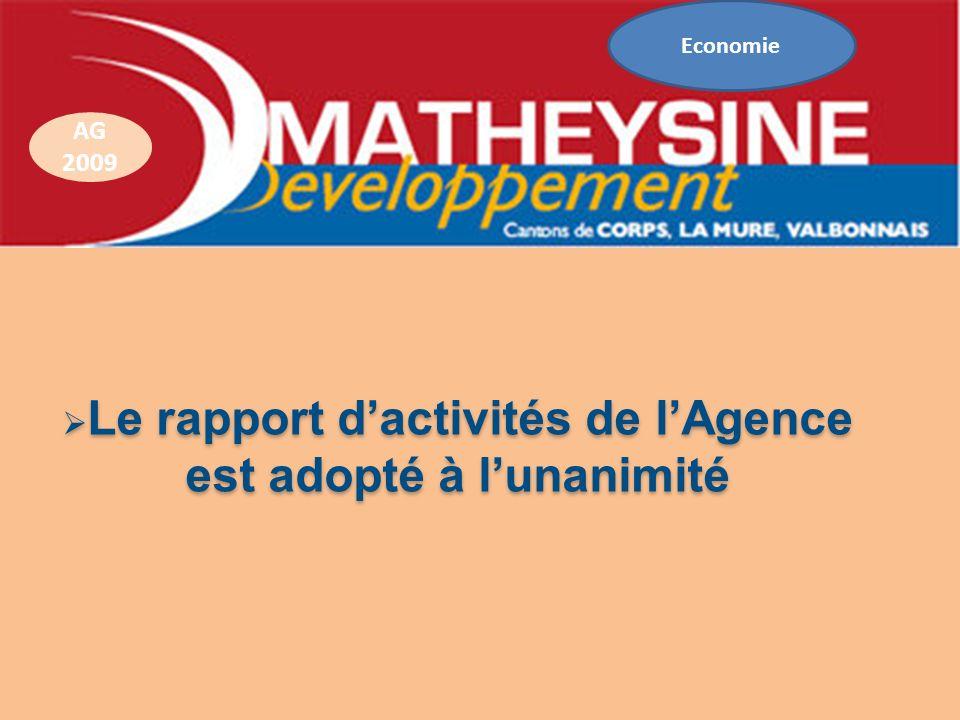 Le rapport dactivités de lAgence Le rapport dactivités de lAgence est adopté à lunanimité AG 2009 Economie