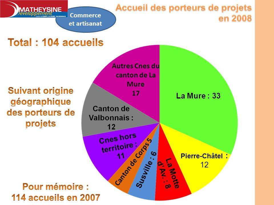 Commerce et artisanat La Mure : 33 Susville : 6 Autres Cnes du canton de La Mure 17 Canton de Corps 5 Pierre-Châtel : 12 La Motte dAv. : 8 Cnes hors t