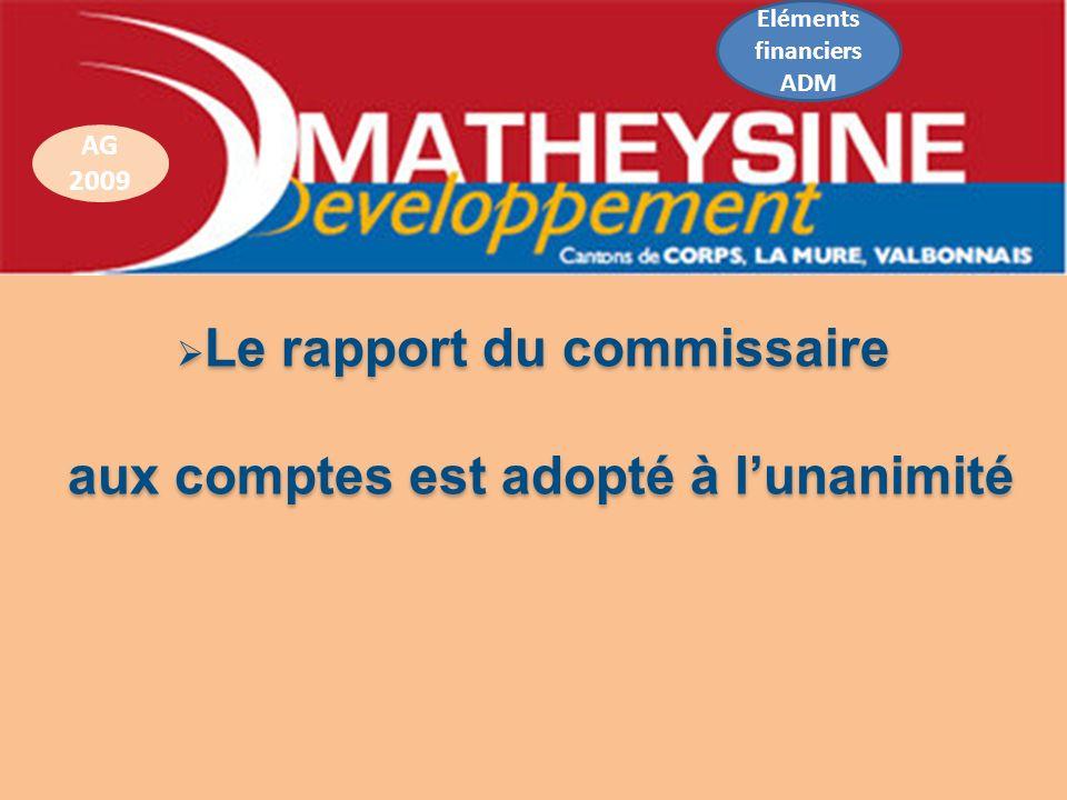 Le rapport du commissaire Le rapport du commissaire aux comptes est adopté à lunanimité aux comptes est adopté à lunanimité AG 2009 Eléments financier