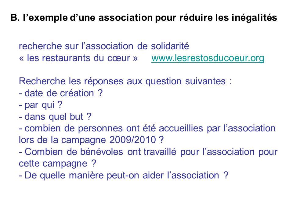 B. lexemple dune association pour réduire les inégalités recherche sur lassociation de solidarité « les restaurants du cœur » www.lesrestosducoeur.org