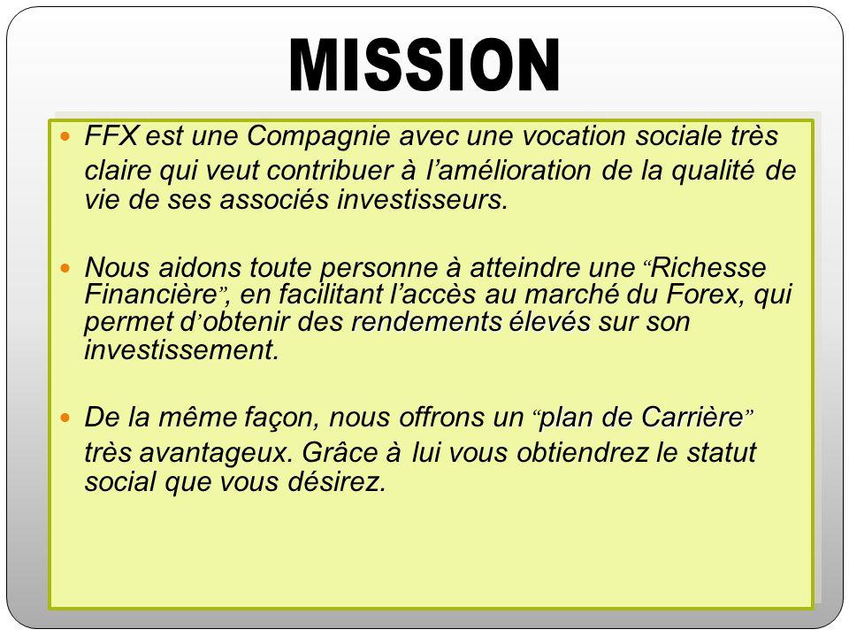 FFX est une Compagnie avec une vocation sociale très claire qui veut contribuer à lamélioration de la qualité de vie de ses associés investisseurs. re