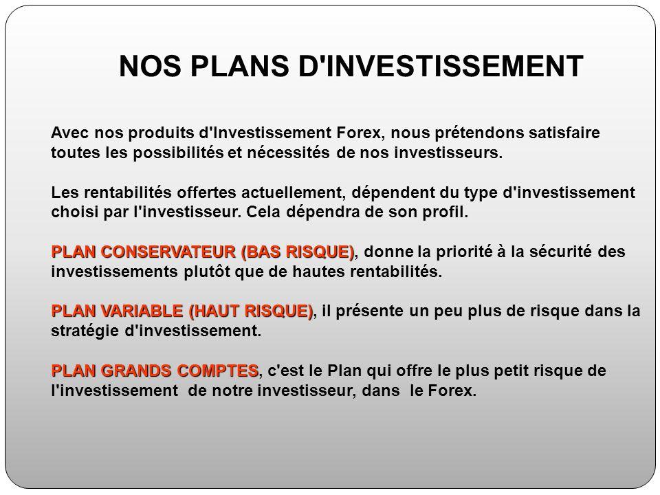 Avec nos produits d'Investissement Forex, nous prétendons satisfaire toutes les possibilités et nécessités de nos investisseurs. Les rentabilités offe