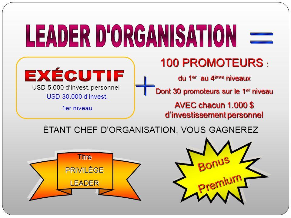 100 PROMOTEURS : du 1 er au 4 ème niveaux Dont 30 promoteurs sur le 1 er niveau AVEC chacun 1.000 $ dinvestissement personnel ÉTANT CHEF D'ORGANISATIO