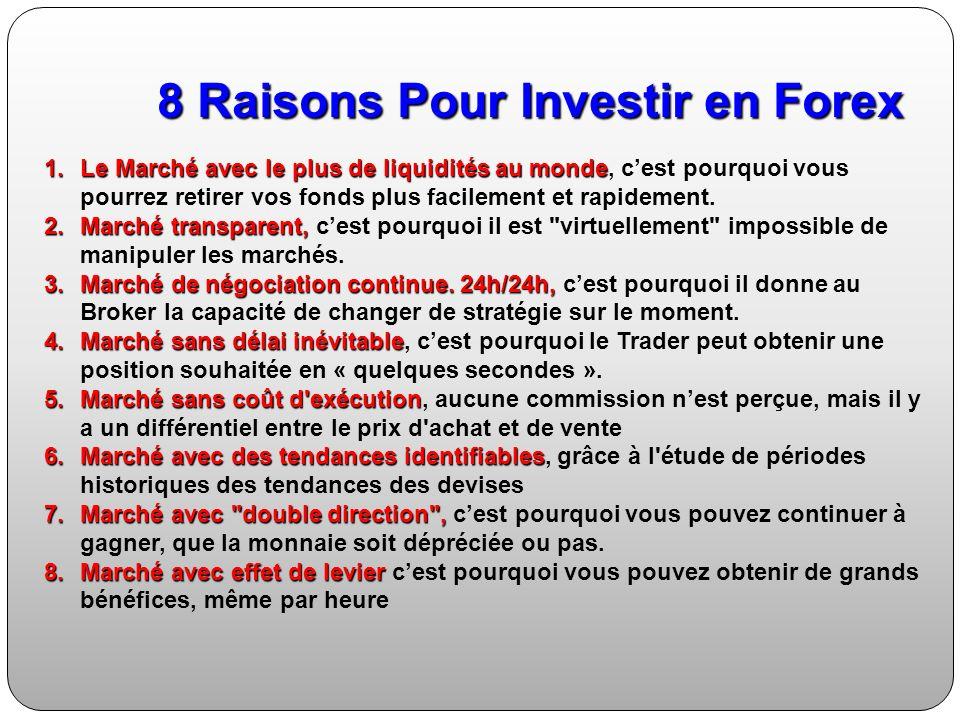8 Raisons Pour Investir en Forex 1.Le Marché avec le plus de liquidités au monde 1.Le Marché avec le plus de liquidités au monde, cest pourquoi vous pourrez retirer vos fonds plus facilement et rapidement.