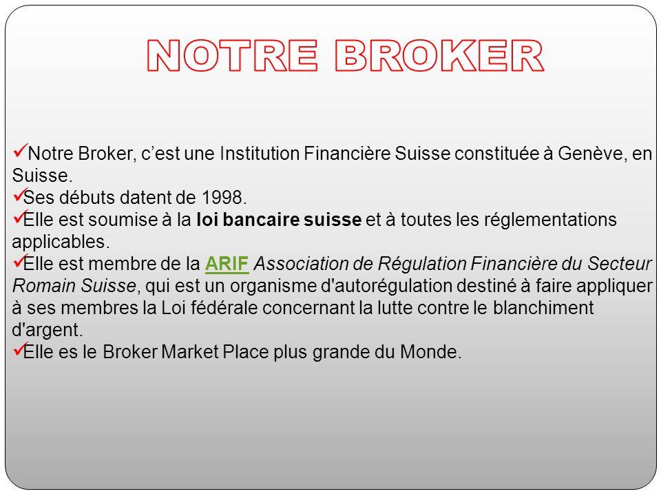 Notre Broker, cest une Institution Financière Suisse constituée à Genève, en Suisse. Ses débuts datent de 1998. Elle est soumise à la loi bancaire sui