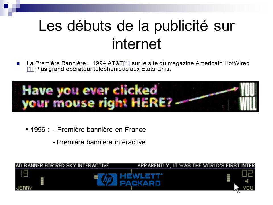 Les débuts de la publicité sur internet La Première Bannière : 1994 AT&T[1] sur le site du magazine Américain HotWired [1] Plus grand opérateur téléph