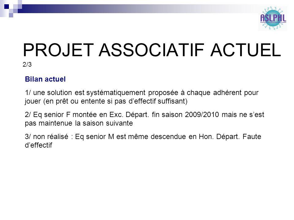 PROJET ASSOCIATIF ACTUEL 3/3 Projet peu connu par les membres de lassociation.