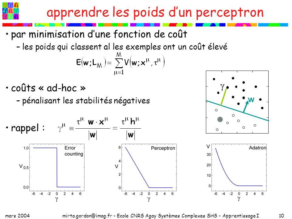 mars 2004mirta.gordon@imag.fr - Ecole CNRS Agay Systèmes Complexes SHS - Apprentissage I10 apprendre les poids dun perceptron par minimisation dune fo