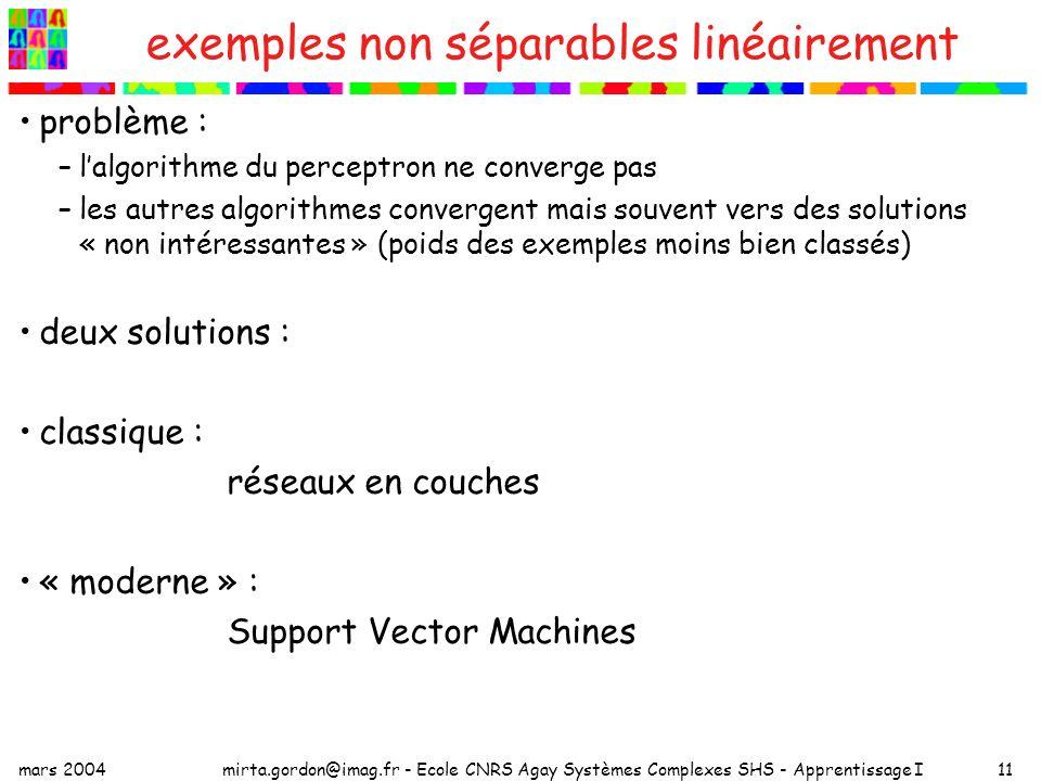 mars 2004mirta.gordon@imag.fr - Ecole CNRS Agay Systèmes Complexes SHS - Apprentissage I11 exemples non séparables linéairement problème : –lalgorithm