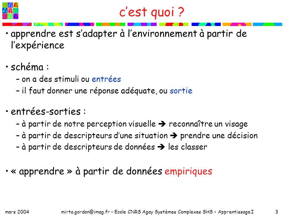 mars 2004mirta.gordon@imag.fr - Ecole CNRS Agay Systèmes Complexes SHS - Apprentissage I3 cest quoi ? apprendre est sadapter à lenvironnement à partir