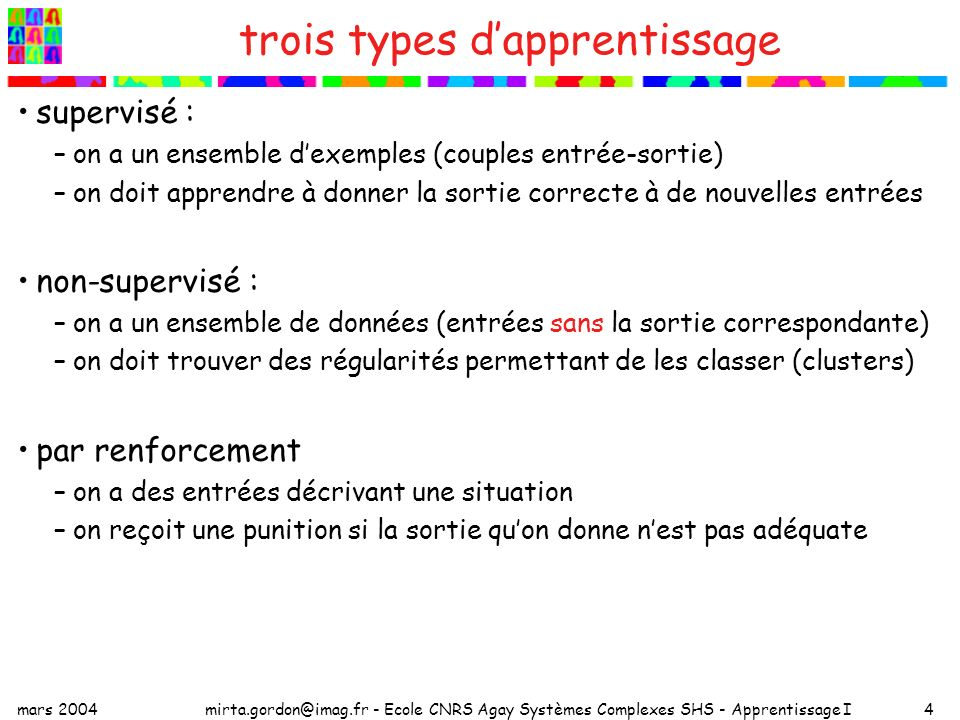 mars 2004mirta.gordon@imag.fr - Ecole CNRS Agay Systèmes Complexes SHS - Apprentissage I4 trois types dapprentissage supervisé : –on a un ensemble dex