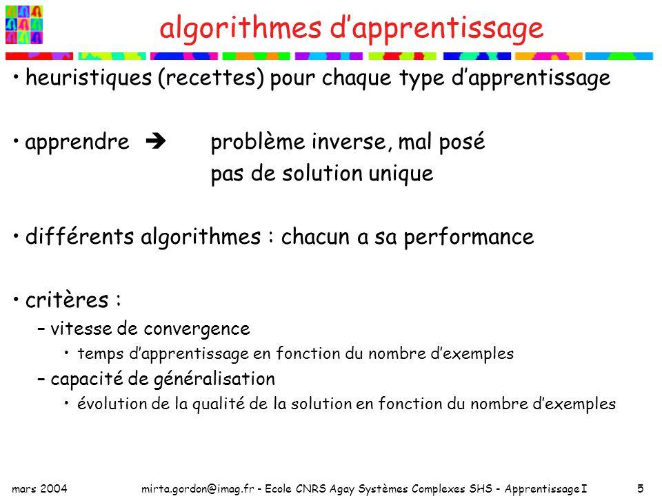 mars 2004mirta.gordon@imag.fr - Ecole CNRS Agay Systèmes Complexes SHS - Apprentissage I5 algorithmes dapprentissage heuristiques (recettes) pour chaq