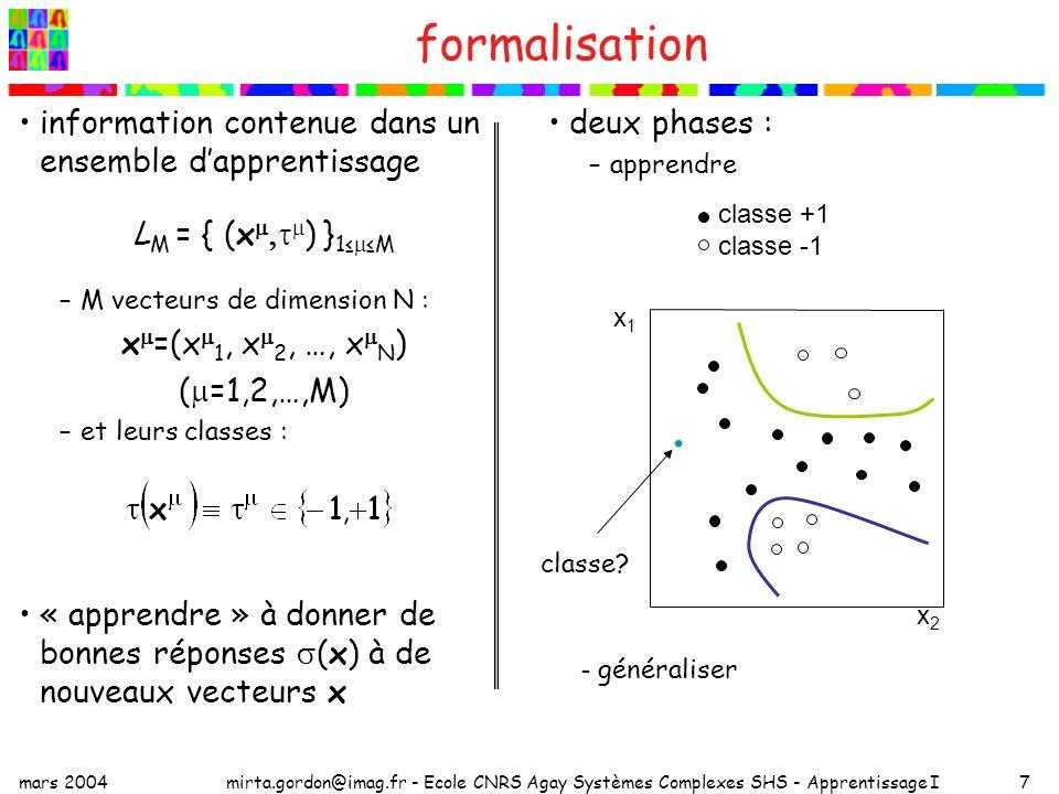 mars 2004mirta.gordon@imag.fr - Ecole CNRS Agay Systèmes Complexes SHS - Apprentissage I7 formalisation information contenue dans un ensemble dapprent