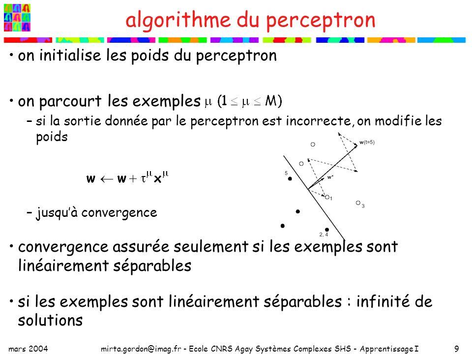 mars 2004mirta.gordon@imag.fr - Ecole CNRS Agay Systèmes Complexes SHS - Apprentissage I9 algorithme du perceptron on initialise les poids du perceptr