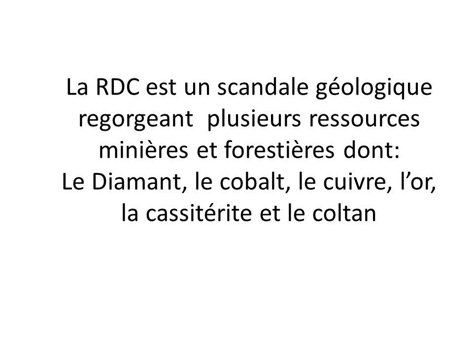 La RDC est un scandale géologique regorgeant plusieurs ressources minières et forestières dont: Le Diamant, le cobalt, le cuivre, lor, la cassitérite
