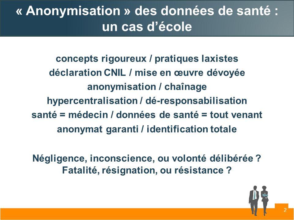 « Anonymisation » des données de santé : un cas décole concepts rigoureux / pratiques laxistes déclaration CNIL / mise en œuvre dévoyée anonymisation