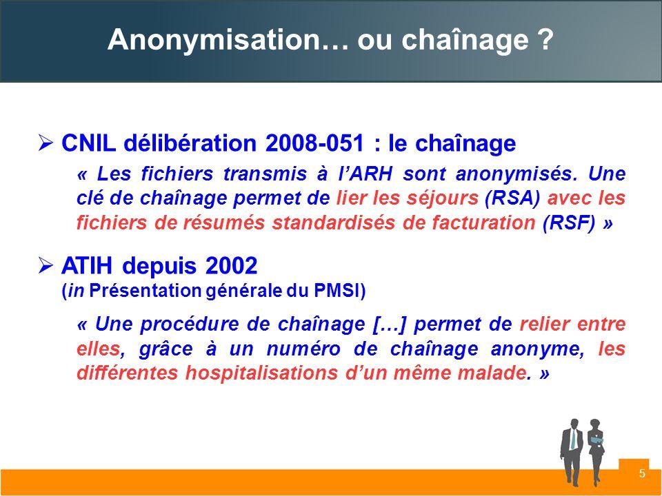 Anonymisation… ou chaînage ? CNIL délibération 2008-051 : le chaînage « Les fichiers transmis à lARH sont anonymisés. Une clé de chaînage permet de li
