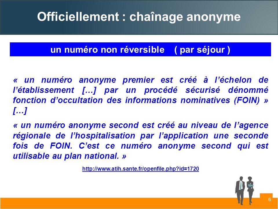 Officiellement : chaînage anonyme « un numéro anonyme premier est créé à léchelon de létablissement […] par un procédé sécurisé dénommé fonction doccu