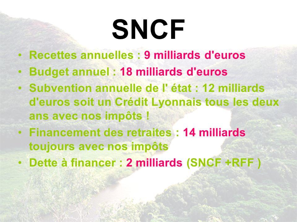SNCF Recettes annuelles : 9 milliards d'euros Budget annuel : 18 milliards d'euros Subvention annuelle de l' état : 12 milliards d'euros soit un Crédi