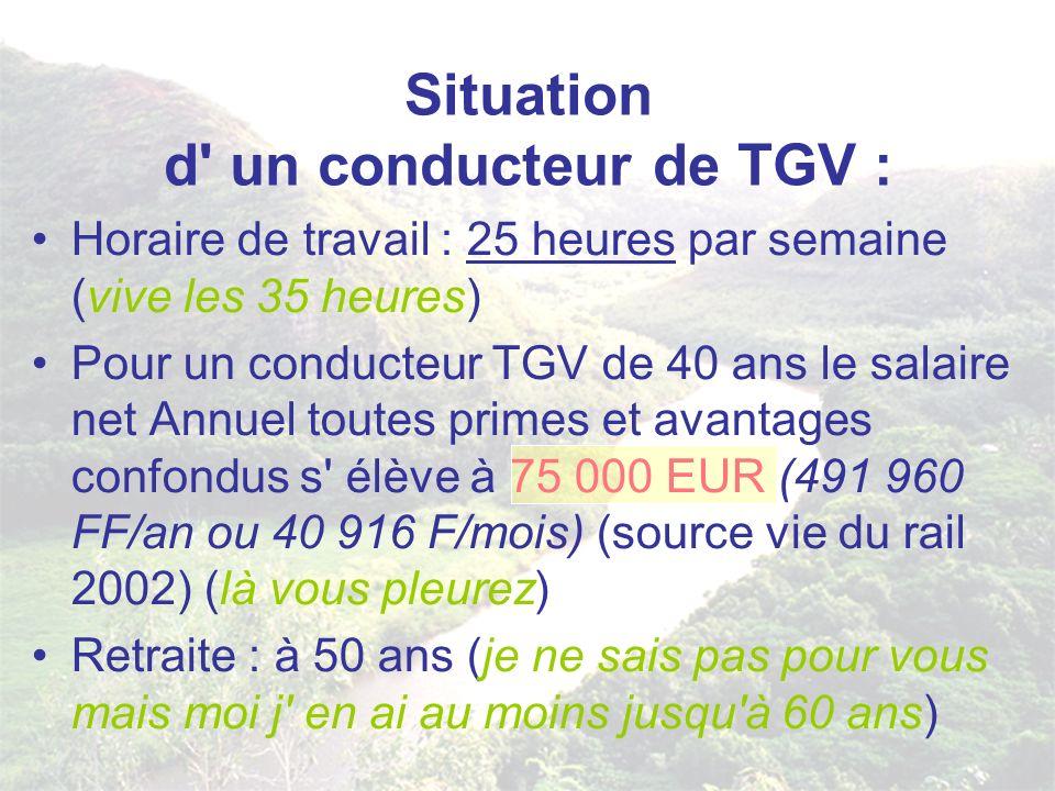 Situation d' un conducteur de TGV : Horaire de travail : 25 heures par semaine (vive les 35 heures) Pour un conducteur TGV de 40 ans le salaire net An