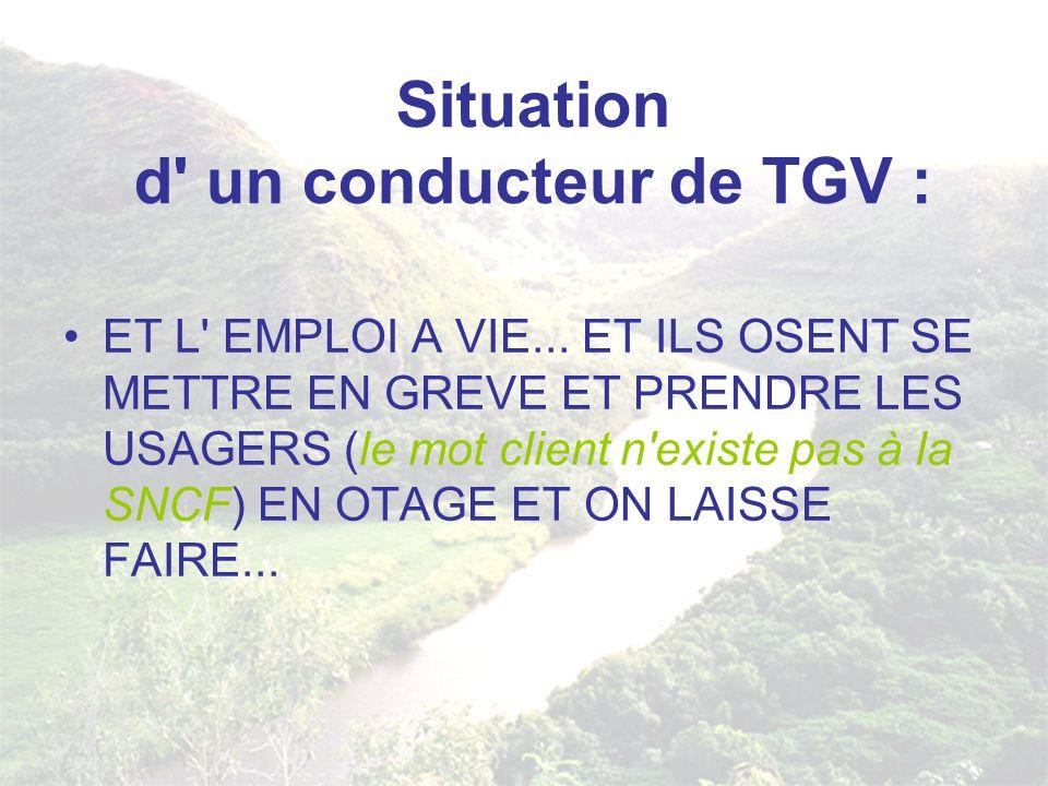 Situation d' un conducteur de TGV : ET L' EMPLOI A VIE... ET ILS OSENT SE METTRE EN GREVE ET PRENDRE LES USAGERS (le mot client n'existe pas à la SNCF