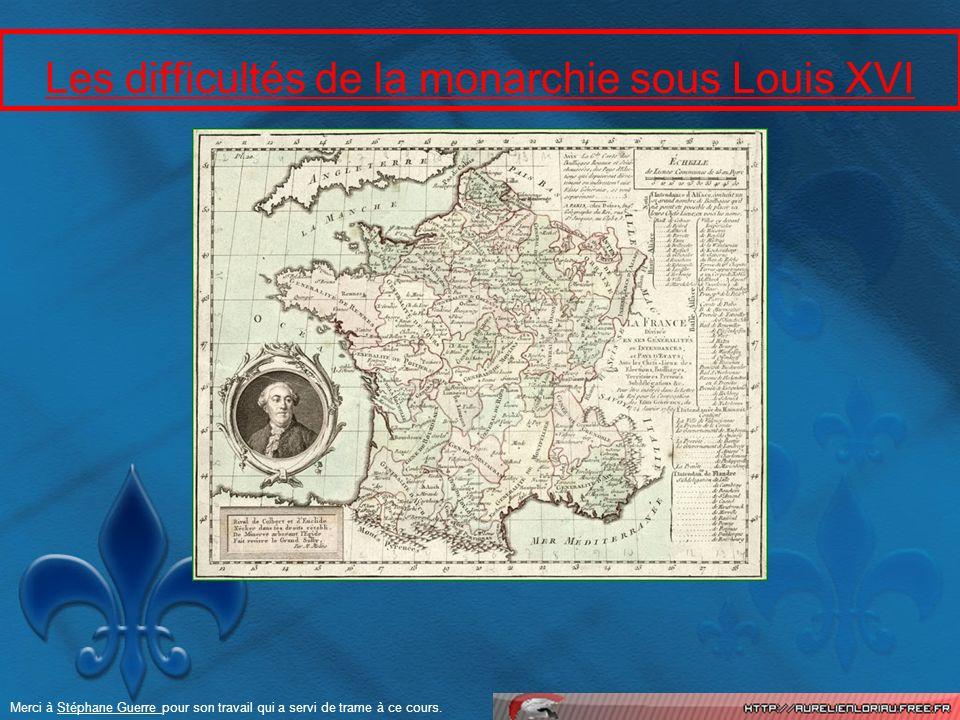 Les difficultés de la monarchie sous Louis XVI Merci à Stéphane Guerre pour son travail qui a servi de trame à ce cours.